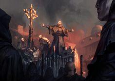 Death by Flames by michalivan on DeviantArt Medieval Fantasy, Dark Fantasy, Fantasy Art, Cyberpunk, Science Fiction, Fantasy Places, Matte Painting, Warhammer Fantasy, Fantasy Illustration