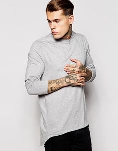 ASOS Super Longline Skater Long Sleeve T-Shirt With Pleated Back