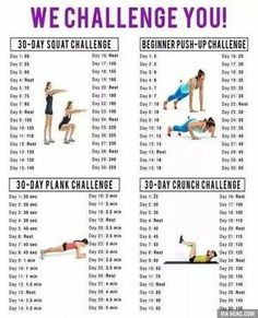 My april Workout Challenges! Squat Challenge, Push Up Challenge, Plank Challenge, Crunch Challenge Fitness Workouts, Fitness Herausforderungen, Fitness Motivation, Sport Fitness, At Home Workouts, Health Fitness, Fitness Goals, Physical Fitness, Health Club