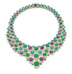 「ビブ」 ネックレス:ゴールド、エメラルド、アメシスト、ターコイズ、ダイヤモンド 1965年