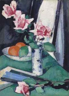 Peploe: Still life with Pink Roses and Oranges in a blue and white vase