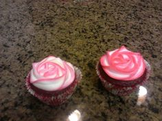 These Pink and White Rose Cupcakes would be the idea wedding cake...