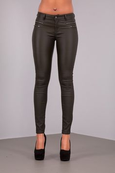 Lusty Women Leather Look Jeans With 4 Zips
