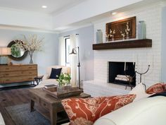 Newest Totally Free Fireplace Remodel Style Fixer Upper: A rush to renovate a ranch house from the Paint Brick Fireplace White, Fireplace Doors, Brick Fireplaces, Fireplace Update, Wood Mantle, Fixer Upper, Dining Room Wall Decor, Fireplace Remodel, Living Room Remodel