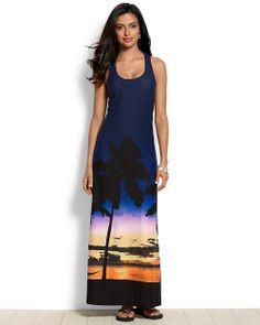 Sunset Palm Tank Maxi Dress