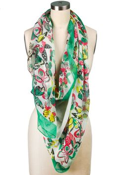 butterfly scarf, love the green and pink together