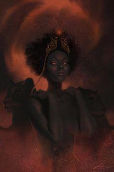 Sekhmet - Print - Egyptian Mythology Art - Goddess of War and Medicine - Sun Godesses - Fiery Eye of Ra Art Black Love, Black Girl Art, Black Goddess, Goddess Art, Maat Goddess, African American Art, African Art, Art Afro, Art Magique