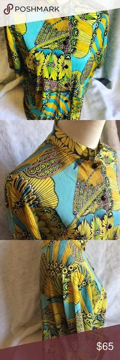 """1960's Psychedelic Dutchmaid Butterfly Blouse Brand: Dutchmaid  Material: 100% Arnel Triacetate  Short Sleeve  Butterfly  Size: 17 (40 - 42)  Outside Measurements:  Bust: 42""""  Back: 16""""  Length: 24"""" Vintage Tops Blouses"""