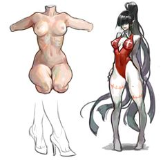 Rough body drawing, sketches, anatomy, vampire girls, a long hair, a ponytail, a torso, feet, heel, ankle
