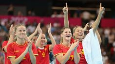 Montenegro celebrate victory over Great Britain in Women's Handball  Montenegro celebrate beating Team GB 31-19 in the Women's Handball preliminaries Group A - Match 5 between Montenegro and Great Britain on Day 1 of the London 2012 Olympic Games at the Copper Box.