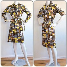 Vintage Lanvin Dress / Art Deco Op-Art Print Belted Boho Shirt Dress / High Fashion Graffiti Jeanne Lanvin Designer Geometric Holidays