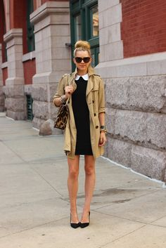 Dress: Alice + Olivia. Shoes: Zara (old, but similar here). Trench: Gap (old, but similar here). Sunglasses: Karen Walker 'Number One'. Purse: Valentino.