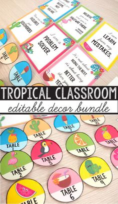 Create a beautiful, bright and organized Tropical Themed classroom with this amazing decor bundle. I put together everything you need! With 30+ resources included plus EDITABLE templates in PowerPoint and PDF that you can use to customize almost every label and poster, this set will look wonderful in your classroom. #tropicalclassroom #pineappleclassroom #classroomorganization