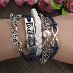 Multilayer Romantic LOVE Wings Hand Knitting Christmas Bracelet