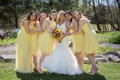 Beautiful Spring Wedding at Cedars of Lebanon State Park with gorgeous yellow bridesmaids dresses.  #yellow #bridesmaids #wedding #dresses #nashville #bride #Cedars of Lebanon #Photographer