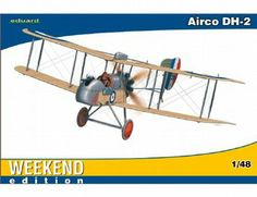 The Eduard Airco DH.2 Weekend Edition Model Kit in 1/48 scale from the plastic aircraft model kits range accurately recreates the real life British biplane fighter aircraft flown during World War I. This Eduard aircraft model requires paint and glue to complete.