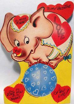 Vintage Valentines Card Unused Safari Kids Riding Elephant I Have
