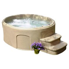 4 Person 20 Jet Luna DLX Plug & Play Spa by Lifesmart  stairs are separate