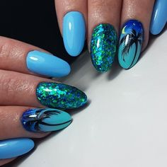 58 Hottest Beach Nail Ideas Designs for Summer - Acrylic Nails Glitter - Nail Art Ideas Tropical Nail Designs, Tropical Nail Art, Beach Nail Designs, Nail Art Designs, Style Tropical, Cute Nail Art, Cute Nails, Pretty Nails, My Nails