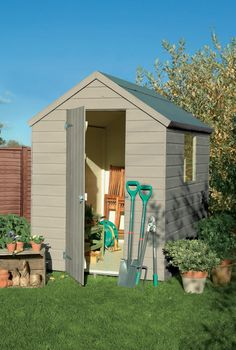 Somerset Green colour paint ideal for Garden Sheds, Planters, Garden Furniture and Bird Boxes Painted Garden Sheds, Painted Shed, Garden Front Of House, House Front, Hill Garden, Fence Garden, Garden Steps, Garden Planters, Shed Design