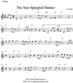 sheet music violin | The Star-Spangled Banner, free easy violin sheet music notes
