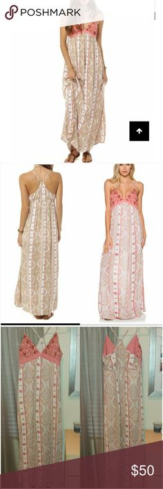 """O'neill Della embroidered maxi dress XL long tall Gorgeous maxi dress from O'Neill, size XL. It's a lightweight, gauzy material with a half slip lining inside. Top is beautiful pink embroidered fabric and has adjustable racetrack straps. I'm 5'9"""" & this dress was long enough on me to nearly reach the floor. I absolutely LOVE this dress but I'm just a little too busty for it, so I only wore it once & had to put a bralette underneath. Washed on cold, delicate cycle & hung to dry. Excellent…"""