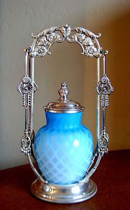 VICTORIAN ANTIQUE PICKLE CASTOR BLUE MT. WASHINGTON MOTHER OF PEARL LATTICE JAR