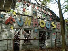 Abandoned fun house - inspiration for a fake facade or lettering style