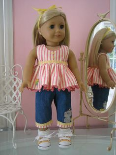 Capri Set made to fit 18 inch American Girl Doll American Girl Doll Clothes / 18 Doll outfit by MadiGraceDesigns, Doll Clothes Spring. Sewing Doll Clothes, Baby Doll Clothes, Sewing Dolls, Doll Clothes Patterns, Barbie Clothes, Dress Patterns, Barbie Barbie, Doll Patterns, American Girl Outfits