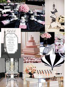 chanel bridal shower, pink, black and white, stripes,