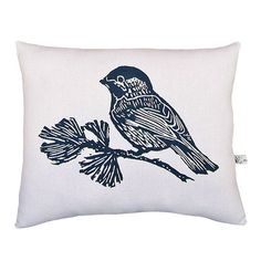 Chickadee pillow blue & white reversible