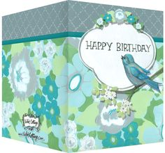 Happy Birthday card with floral design and blue bird.  Blank inside. Available wholesale or retail:  http://www.violetcottage.com/birthday/17-happy-birthday-card-blank-inside-blue-green-flowers-bird.html