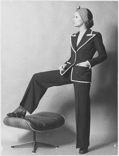 Yves Saint Laurent's scandalous 1971 collection comes to the Fondation Pierre Bergé | Vogue Paris  #Eames 671 ottoman by @vitra