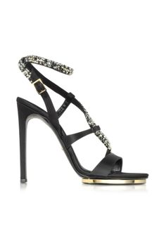 Roberto Cavalli Black Satin and Crystals Sandals