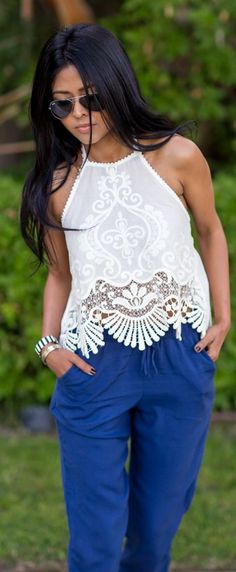 Urban Outfitters White Embroidered Halter Tank Top by Walk In Wanderland