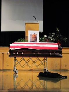 This is a sad story.... but the commitment to serving is inspiring. Navy SEAL Jon Tumilson lay in a coffin, draped in an American flag, in front of a tearful audience mourning his death in Afghanistan. Soon an old friend appeared, and like a fellow soldier on a battlefield, his loyal dog refused to leave him behind.     Tumilson's Labrador retriever, Hawkeye, was photographed lying by Tumilson's casket in a heart-wrenching image taken at the funeral service in Tumilson's hometown of Rockford,...