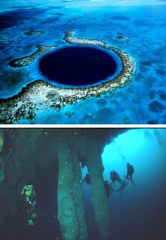 """"""" The Great Blue Hole, Belize """" It was formed as a limestone cave system during the last glacial period when sea levels were much lower. As the ocean began to rise again, the caves flooded, and the roof collapsed.Believed to be the world's largest feature of its kind, the Great Blue Hole is part of the larger Belize Barrier Reef Reserve System"""