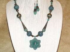 Bohemian Necklace and Earrings Turquoise Patina by CJKingOriginals