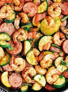 Cajun Shrimp and Sausage Vegetable Skillet is the BEST 20 minute meal packed with awesome cajun flavor with shrimp, sausage, and summer veggies. low carb recipes Cajun Shrimp and Sausage Vegetable Skillet Seafood Recipes, Chicken Recipes, Keto Chicken, Grilling Recipes, Sausage And Shrimp Recipes, Cajun Sausage, Cajun Shrimp Recipes, Salmon Recipes, Meals With Shrimp