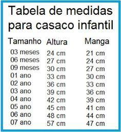 Receita de Crochê Infantil: Tabela de tamanhos para casaquinhos de bebê