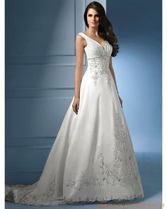 2013 Neues sexy Brautkleid aus Taft sexy V-Ausschnitt mit Korsett und A-Linie Rock mit Kapelleschleppe