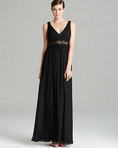Aidan Mattox Gown - Double V Neck Illusion Lace Waist | Bloomingdale's