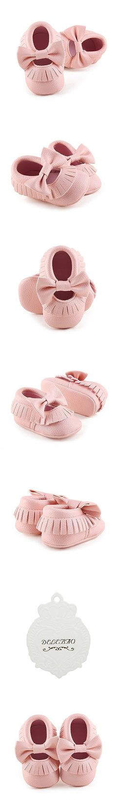 Delebao Infant Toddler Baby Soft Sole Tassel Bowknot Leather Moccasinss Crib Shoes (12-18 Months, Pink)