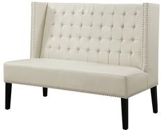 Halifax Banquette Bench in Cream Leather by TOV