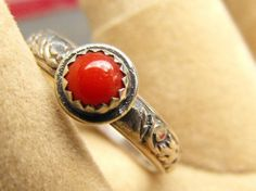 Sterling Silver Oxblood Coral Filigree Band Ring | WestWindCreations - Jewelry on ArtFire