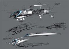 Des croquis de l'Hyperloop, réalisés par l'entrepreneur Elon Musk, et publiés le 12 août 2013. | EYEPRESS NEWS / AFP