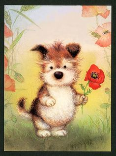 Lisi Martin Spanish Artists, Tatty Teddy, Modern Kids, Vintage Greeting Cards, Cute Gif, Cute Illustration, Christmas Art, Dog Art, Dogs