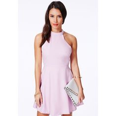 Missguided Lilac Halterneck Skater Dress
