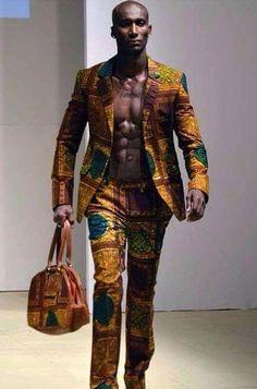 www.cewax.fr aime ce look homme en pagne wax Africain -