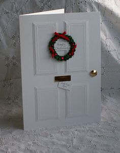 The Pinkshop Blog: Christmas Door Tutorial - yjis would be also great for a new home card, isn't it?